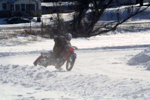 Me ice racing on a CRF450
