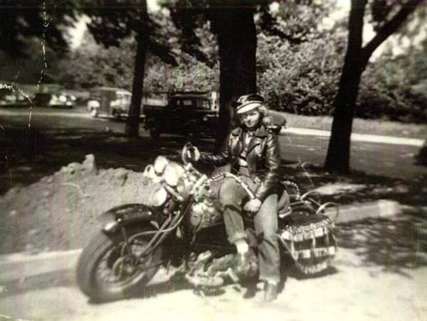 My Mom on a Harley-Davidson Knucklehead